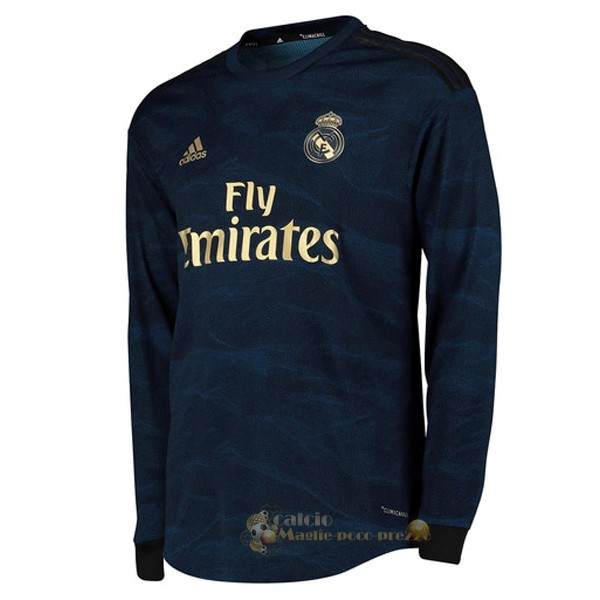 Repliche Maglie Da Calcio Away Manica lunga Real Madrid 2019 2020 Blu